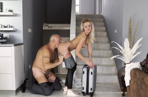 Nudist couple at home